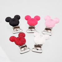 resinas de ratón al por mayor-Accesorios ewelry Joyas Componentes 5Pcs Resina ratón Forma Bebé Chupetes Clips Tenedores de metal Infantil Chupete Corchetes Accesorios ...