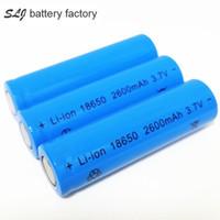e bateria azul venda por atacado-Alta qualidade de iões de lítio 18650 2600mAh bateria azul bateria de lítio plana pode ser utilizado na lanterna brilhante e da bateria da lâmina e assim por diante