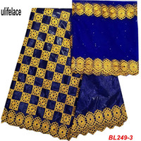 getzner ткани оптовых-Базен Рич Getzner кружевной ткани вышивка соответствия французский сетка кружевной ткани Африки хлопок Гвинея парчи ткани 5+2 ярдов/компл. BL-249
