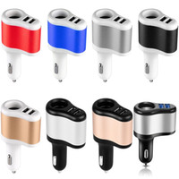 Wholesale one way cars resale online - car charger Universal Ports Dual USB One Way Car Cigarette Lighter Power Socket Charger Adapter for iphone for samsung pc