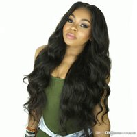 Wholesale full french lace remy wig resale online - Body Wave Front Human Hair Wigs for Women Pre Plucked Hairline with Baby Hair Inch Brazilian Remy Hair Bleached Knots