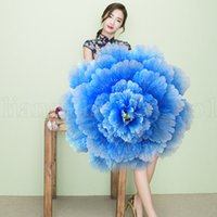 Wholesale peony gifts resale online - Dance Umbrella D Dance Performance Peony Flower Umbrella Chinese Multi Layer Cloth Umbrellas Stage Props colors KKA7135