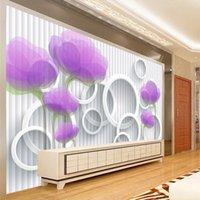 kreis wohnkultur großhandel-Individuelle Fototapete Papel De Pared 3D Lila Blumen-Kreis-Streifen-Wandwand-Papiere Home Decor Wohnzimmer Moderne Tapeten
