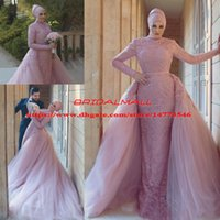 Wholesale red muslim wedding dresses hijab for sale - High Neck Dusky Pink Muslim Mermaid Wedding Dresses With Hijab New Saudi Arabic Applique Lace Long Sleeve Bridal Gowns Detachable Train