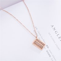 Wholesale white china rose pendant resale online - Abacus Pendant Necklace Rose Gold Titanium Steel Women Clavicle Necklaces Luxury Designer Jewelry Lucky Knowledge Gift