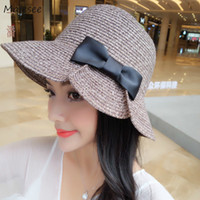 Wholesale korean girl style hat resale online - Sun Hats Women Trendy Simple Bow Hat New Lovely All match Korean Style Daily Summer Casual Solid Straw Womens Female Girls Sweet