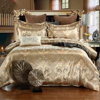 king size jacquard bettwäsche gesetzt großhandel-Luxus Bettwäsche-Sets Jacquard Queen / King Size Bettbezug Set Hochzeit Bettwäsche Bettwäsche Bettbezug