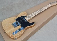 Wholesale natural wood color electric guitar resale online - Factory Natural Wood Color Electric Guitar with Black Pickguard Maple Fretboard Chrome Hardware Can be customized