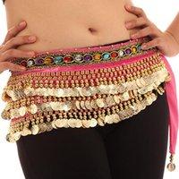 göbek dansı paraları toptan satış-Oryantal Dans Kostümleri Paraları Kadife Kalça Eşarp Wrap Kemer Kadın Etek Giyim Renkler