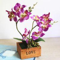 Wholesale artificial flowers bonsai resale online - Garden Desktop Artificial Butterfly Orchid Craft Home Office Silk Flower Display Wood Pot Gift Simulation Bonsai Decoration Mini
