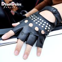 Wholesale half finger gloves for women for sale - Group buy Fashion Half Finger Driving Women Gloves PU Leather Fingerless Gloves Half Finger For Women Black white R003