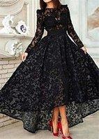 venta de vestidos de fiesta nuevos al por mayor-Vestidos formales de manga larga Vestido De Festa Longo Oferta 2019 Nuevos vestidos de noche de encaje negro Vestidos de baile altos y bajos