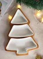 decoração de natal de bambu venda por atacado-Nordic Criativo Bamboo Christmas Tree prato de frutas Household talheres Bandeja da sobremesa Ceramic Plates Salada de Frutas Lanche Prato Placa Home Decor