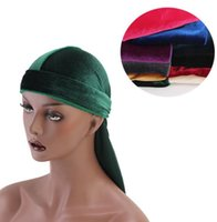 Wholesale wig skull cap resale online - unisex Velvet Durags hat Bandana Turban Wigs Velvet Breathable Bandana Hat Turban Headband Caps long tail Turban hat KKA6578