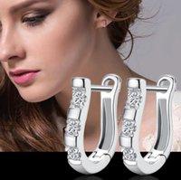 kadınlar için en iyi küpeler toptan satış-Yeni Moda Best Friends 925 Ayar Gümüş Küpe U Şekli Damızlık Küpe Kadınlar için Beyaz Kübik Zirkon Küpe