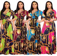 Wholesale african print fabric dresses resale online - 3XL Plus Size African Clothes Dashiki Dress for Women Casual Summer Hippie Print Dashiki Fabric Femme Boho Robe Femme