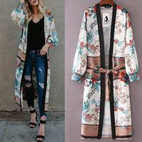 frauen gürtel strickjacke großhandel-Damen aus hochwertigen Materialien Gürtel Bandage Schal Print Kimono Cardigan Top Cover Up Bluse Beachwear Geschenk