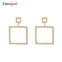 двойные квадратные серьги оптовых-Carvejewl двойные квадратные серьги-подвески с имитацией жемчуга и кристаллов со стразами