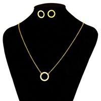 ingrosso acciaio inossidabile uk-Dell'orecchino della collana Baoyan semplici gioielli in acciaio inossidabile 316L Trendy Oro Argento cerchio di colore geometrica Pendant Jewellery Set UK