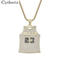 ingrosso ciondolo cestino-Nuovo arrivo cristallo di lusso Bulls squadra numero 23 Team uniforme forma pendenti collana per gli appassionati di basket uomini regali