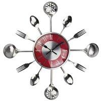 duvar çatalı toptan satış-18 Inç Büyük Dekoratif Duvar Saatleri Saat Metal Kaşık Çatal Mutfak Duvar Saati Çatal Yaratıcı Tasarım Ev Dekor Relogio De Pared