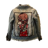 çocuklar için uzun ceket toptan satış-Çocuk Kız Ceketler Serin Çocuk Uzun Kollu Turn-aşağı Yaka Düğmeleri Mont Cep Kız Desen Denim Giyim Çocuk Giysileri Sıcak
