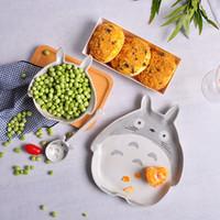 Wholesale dinnerware set cartoon for sale - Group buy Creative D Totoro Pottery Dinner Plate Dish Bowl Spoon Set Ceramics Food Container Crockery Kids Stoneware Dinnerware T191108