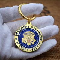 münzen schlüsselanhänger großhandel-Trump Metal Commemorative Coins Keyring Schlüsselbund Military Challenge Badge Schlüsselanhänger Geschenke HH9-2173