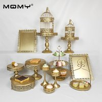 Wholesale cupcake stand resale online - 14Pcs Thin Disk Wedding Cupcake Metal Crystal Fruit Tier Set Pink Square Gold Cake Stand