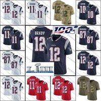 aşçı kaseleri toptan satış-2019 Yeni Patriots Forması 12 Tom Brady 87 Rob Gronkowski Süper Kase LIII 11 Julian Edelman 14 Brandin Aşçılar 26 Sony Michel futbol forması