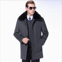 tavşanlar saç yünü toptan satış-Orta yaşlı yün Ceket uzun yaka tavşan kıllar yaka Giyim moda erkek yüksek dereceli kaşmir saf renk uzun Yün ceket