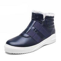 botas de piel azul al por mayor-Hombres de invierno Botas de nieve Botas de esquí de moda para hombres con pieles Zapatos casuales Botas al aire libre con tobillo azul Zapatillas sin cordones Zapatillas de deporte casuales