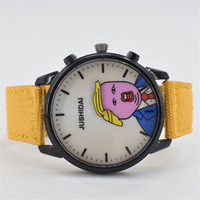 Wholesale Donald Trump Watches Men s Quartz Wristwatch Spin Wig Fake Hair Funny Watch with Canvas Strap
