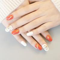 hübsche nagelaufkleber großhandel-24 teile / satz Voller Diamanten Braut Nail art Tipps Full Cover Ziemlich Rot Künstliche Gefälschte Nägel mit Kleber Aufkleber Faux Ongles #