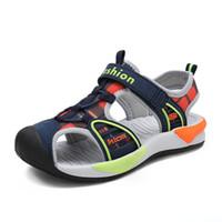 Wholesale sandal shoes for kids boys resale online - Children Boys sandals cut outs soft and light child beach sandals boys European size summer kids canvas shoes for boy