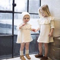 Wholesale red infant formal dress resale online - Retail Ins baby infant cotton Knitted Princess sweater dresses with caps kids designer clothes girls dresses children boutique clothing