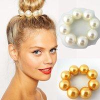 ingrosso nuovi accessori korea-Donne Lady Big Pearl Hair Rope Holder Corea Gioielli Accessori per capelli Copricapi Fasce per capelli per donna Bun maker Cravatte New Brief
