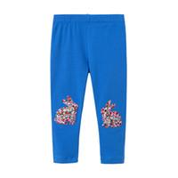 chicas calientes leggings azules al por mayor-2019 Primavera Ventas calientes Muchachas de algodón Pantalón largo Chicas 2-7T Algodón Leggings conejo color azul impreso # 1080