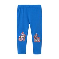 Wholesale hot girls blue leggings for sale - Group buy 2019 Spring Hot Sales Girls Cotton long pant Girls T cotton Leggings rabbit printed blue colour