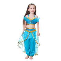 5t niñas disfraces de halloween al por mayor-Girls Kid Summer Cos Princess Traje de Baile Traje de Halloween Rendimiento de Navidad Cosplay Top Falda Pantalón Dos piezas Conjunto de Ropa