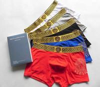 roupas íntimas para homens venda por atacado-Fábrica Atacado Men \ 's Sexy Underwear Homens Boxers Qualidade Designer Marca Pure Cotton Cuecas Respirável Men \' s Casual Boxer 5