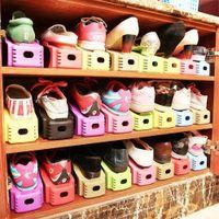 étagères de rangement achat en gros de-Organisateur de chaussure en plastique durable Détaché Double-Wide Rack de stockage de chaussures Chaussures de stockage de nettoyage double moderne Rack Stand étagère