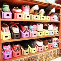ingrosso pattini in plastica-Organizer scarpa di plastica durevole Staccabile doppio-ampio ripiano per scarpe Scarpiera moderna per riporre le scarpe di stoccaggio
