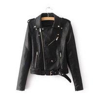 bayanlar yumuşak deri ceketler toptan satış-2019 Yeni Kısa Faux Yumuşak Deri Ceket Kadın Moda Fermuar Motosiklet PU Deri Ceket Bayanlar Temel Sokak Ceket