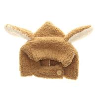 ingrosso cofano di coniglio-Il bambino molle Hat inverno lungo dell'orecchio del coniglietto bambino Bonnet Cap corallo del panno sveglio del coniglio Kid Cappelli beige / grigio per 6-24 mesi