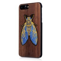 Wholesale Fine knitted embroidery cicada bamboo Cherry Blossom wood black walnut wood three kinds of mobile phone protective shell