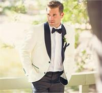 черные мужские костюмы слоновая кость оптовых-Latest Coat Designs Ivory Groom Tuxedos Black Lapel Mens Wedding Party Suits Bridegroom Wear Groomsman Suit(Jacket+Pants)