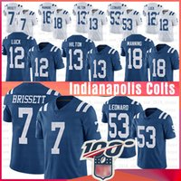 formaları 12 13 toptan satış-Indianapolis 7 JACOBY BRISSETT Colts Forması 53 Darius Leonard 12 Andrew Luck 13 T.Y. Hilton 18 Peyton Manning Futbol Formaları