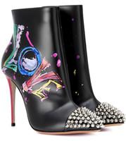 peindre les chaussures en cuir talons achat en gros de-2018 Automne Hiver, Nouveau Peint Noir Graffiti Chaussures À Talons Hauts Bottes Rivets En Cuir Pointu, À Talons Mince Femmes Chaussures Bottes Pointues