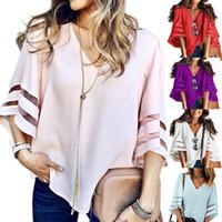 blusas de mujer de colores al por mayor-12 Color S-5XL Tallas grandes Mujer mangas acampanadas Camisetas sueltas Moda Señoras de verano Blusa informal Tops Camisa con cuello en V top color sólido
